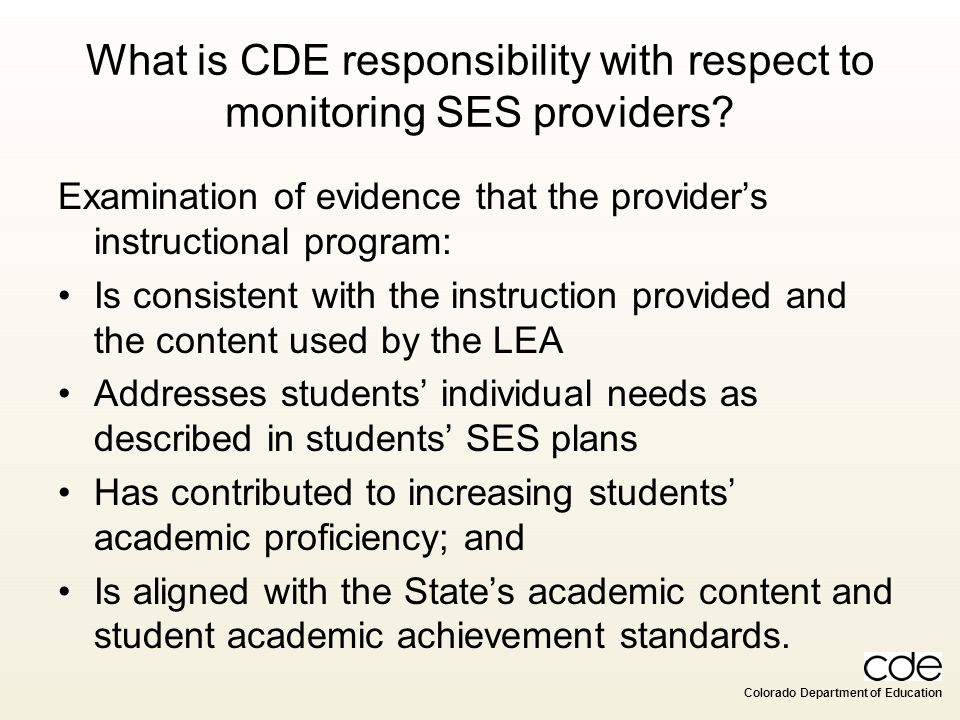What is CDE responsibility with respect to monitoring SES providers