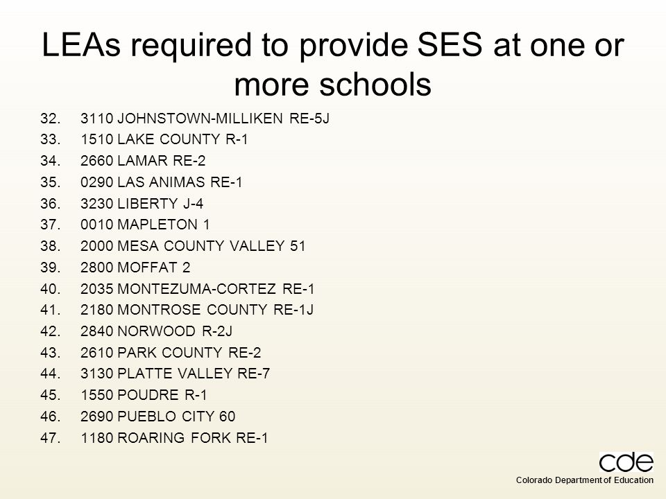 LEAs required to provide SES at one or more schools
