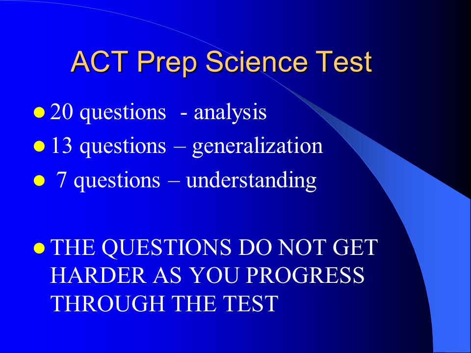 ACT Prep Science Test 20 questions - analysis
