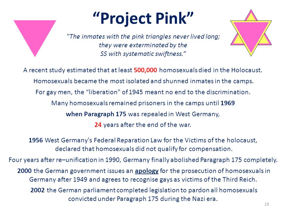 Project Pink The inmates with the pink triangles never lived long;