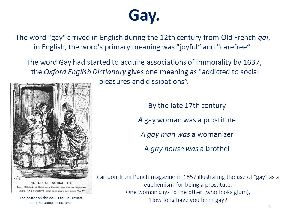 Gay. The word gay arrived in English during the 12th century from Old French gai,