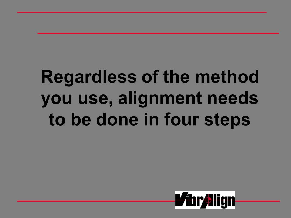 Regardless of the method you use, alignment needs to be done in four steps