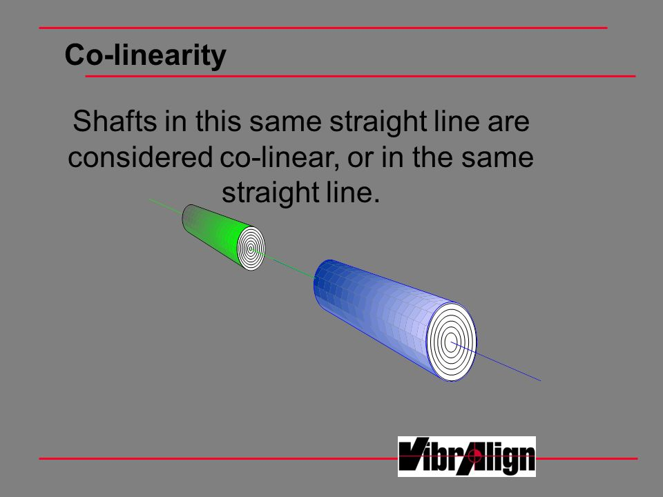 Co-linearity Shafts in this same straight line are considered co-linear, or in the same straight line.