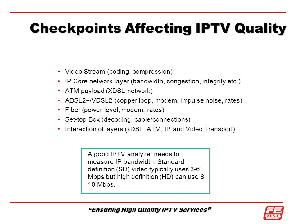 Checkpoints Affecting IPTV Quality