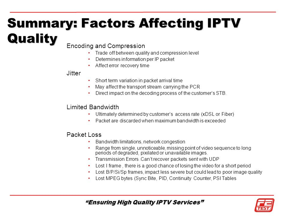 Summary: Factors Affecting IPTV Quality