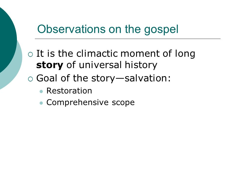 Observations on the gospel