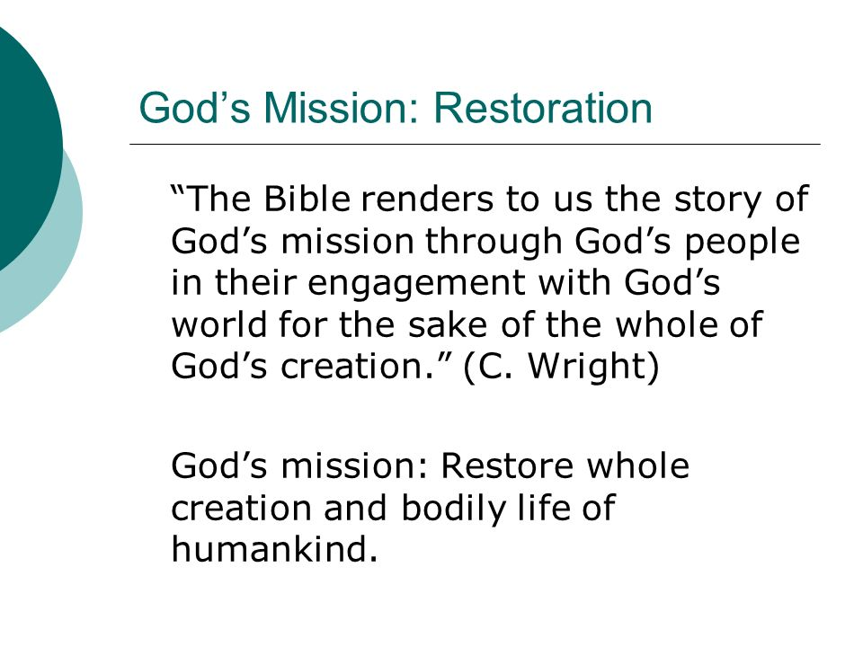 God's Mission: Restoration