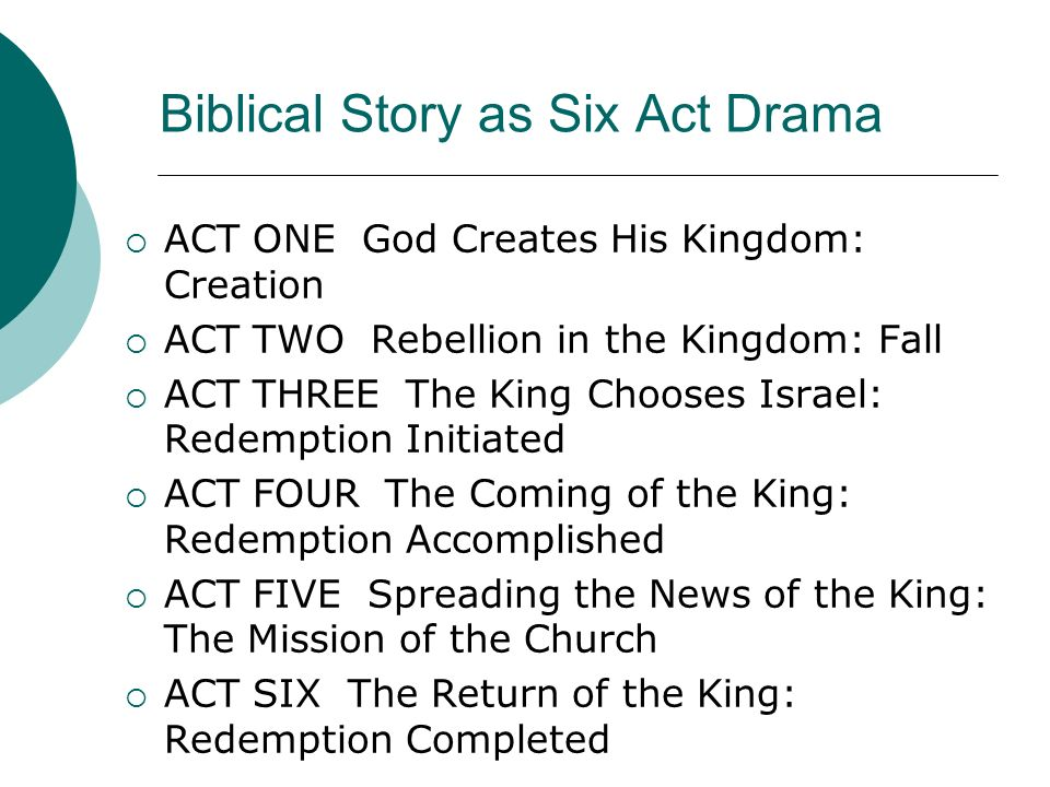 Biblical Story as Six Act Drama