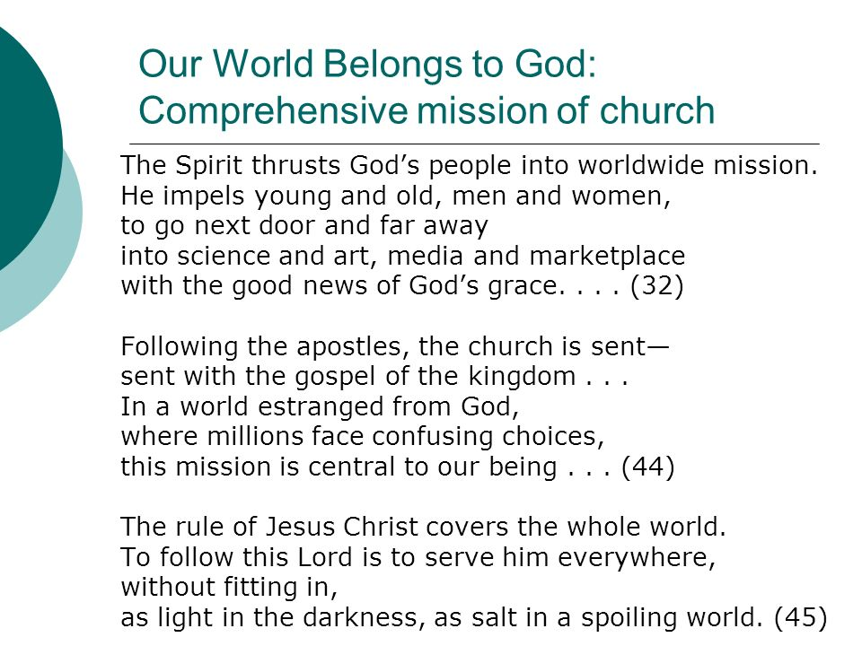 Our World Belongs to God: Comprehensive mission of church