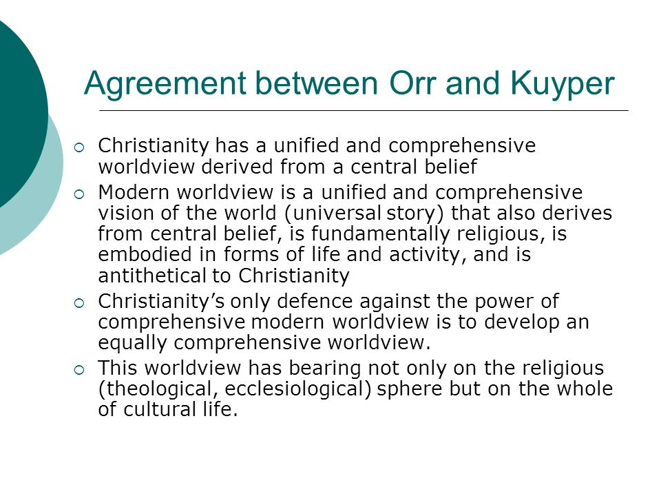 Agreement between Orr and Kuyper