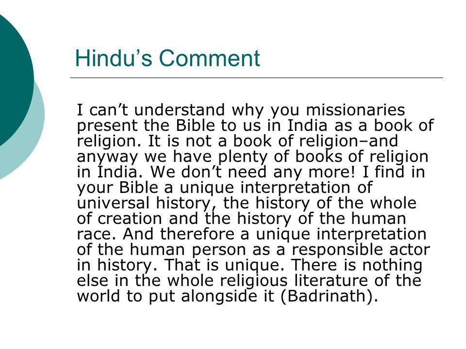 Hindu's Comment