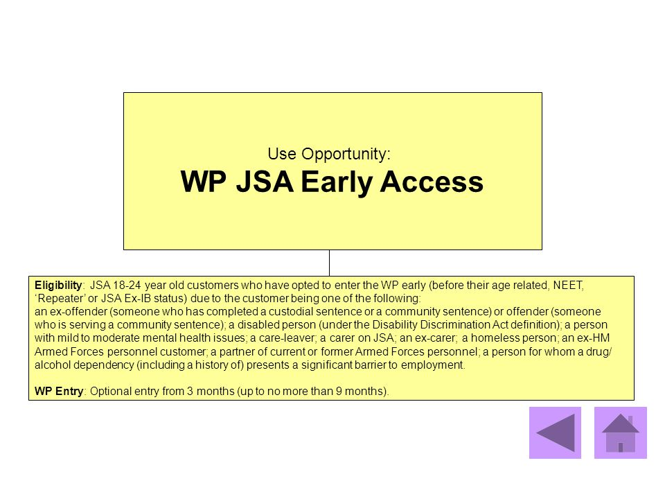WP JSA Early Access Use Opportunity: