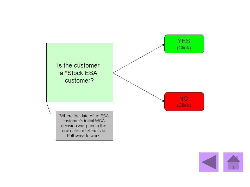 YES Is the customer a *Stock ESA customer NO (Click) (Click)