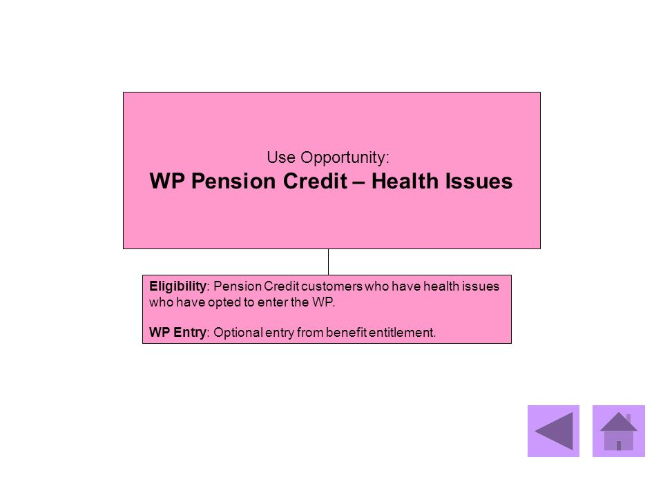WP Pension Credit – Health Issues