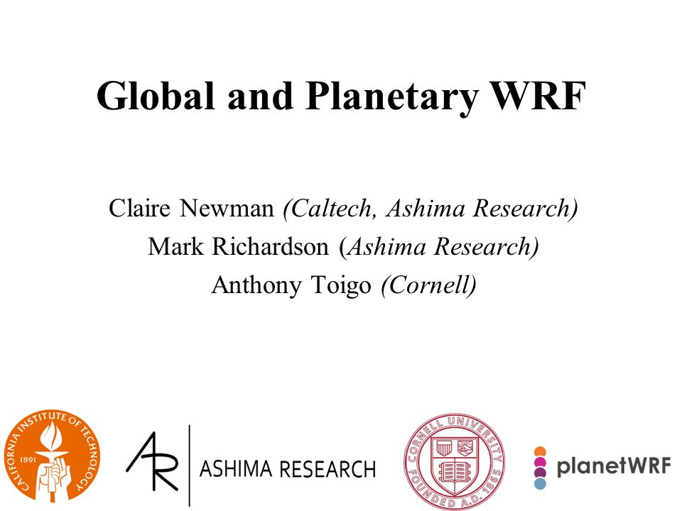 Global and Planetary WRF