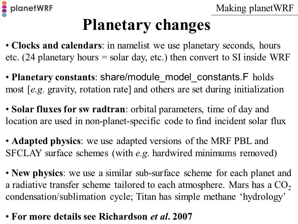 Planetary changes Making planetWRF
