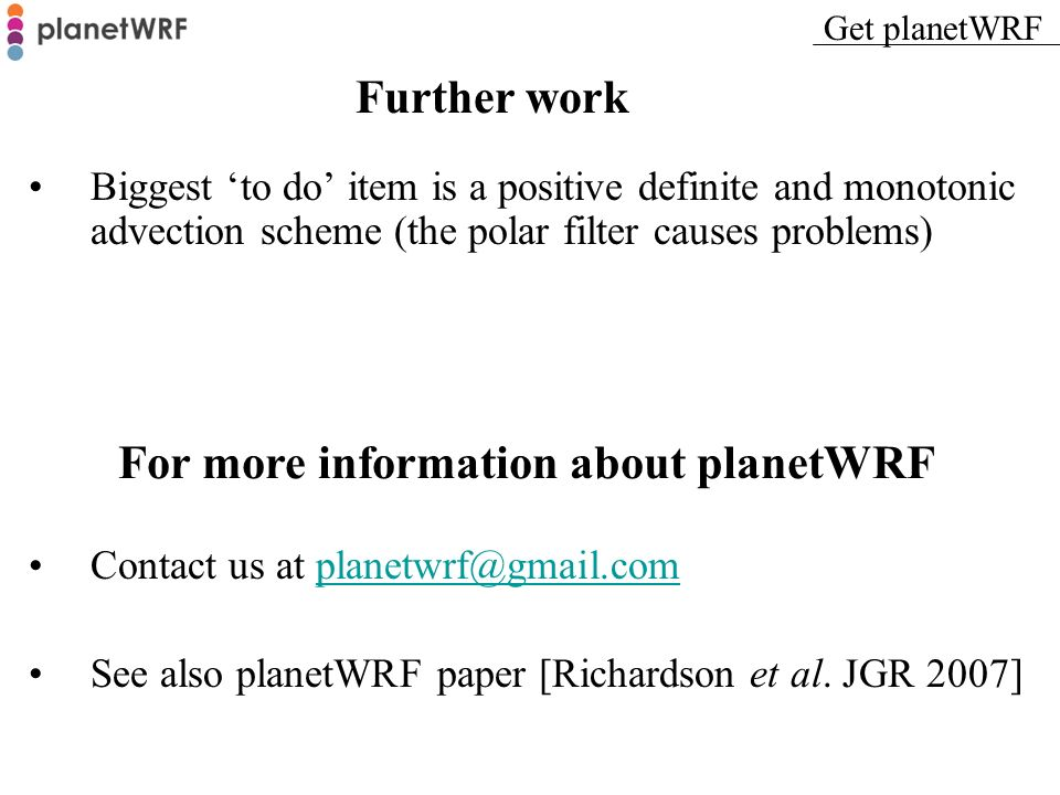 For more information about planetWRF