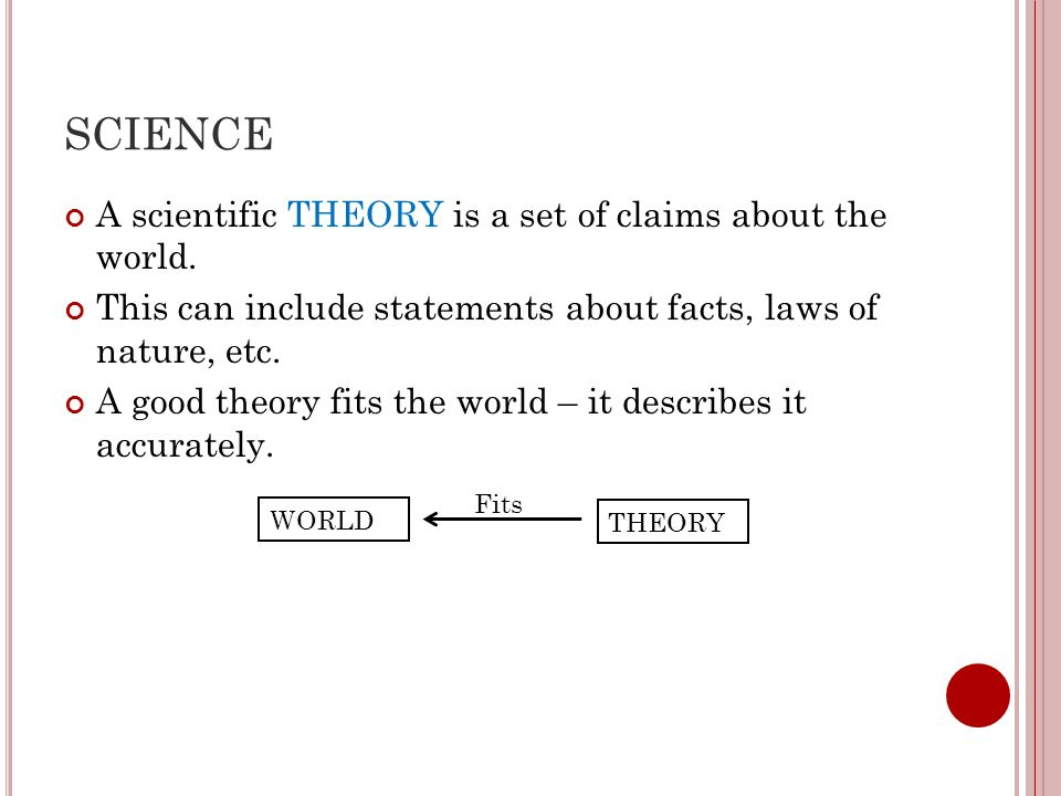 SCIENCE A scientific THEORY is a set of claims about the world.