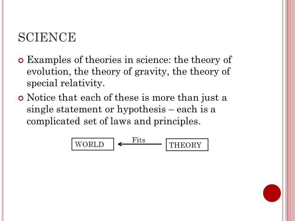 SCIENCE Examples of theories in science: the theory of evolution, the theory of gravity, the theory of special relativity.