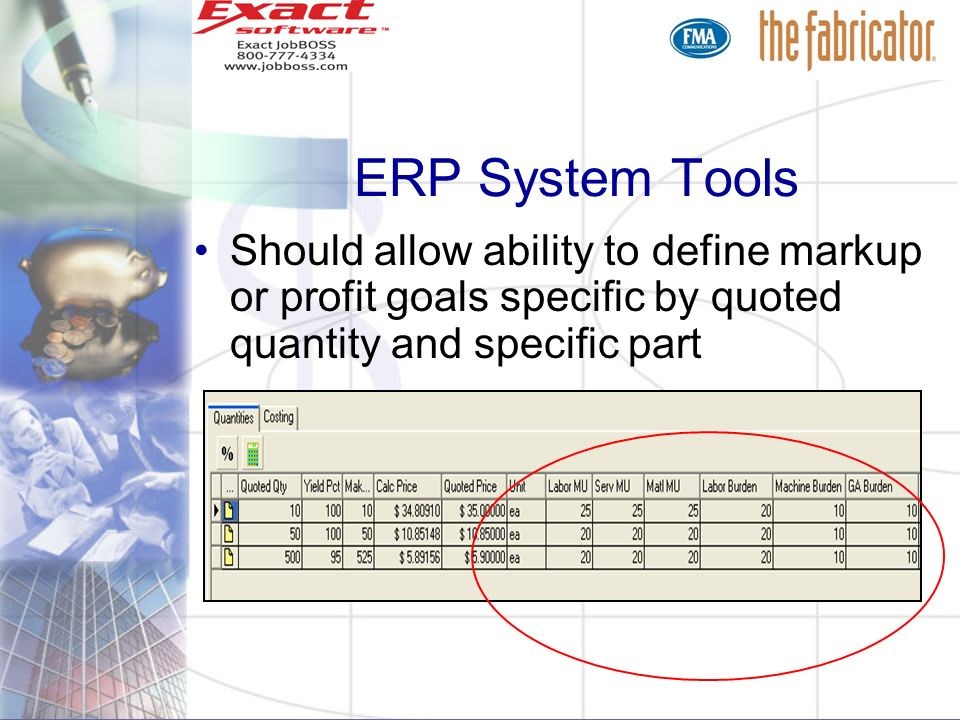 ERP System ToolsShould allow ability to define markup or profit goals specific by quoted quantity and specific part.