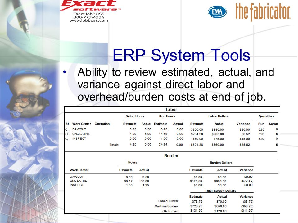 ERP System ToolsAbility to review estimated, actual, and variance against direct labor and overhead/burden costs at end of job.
