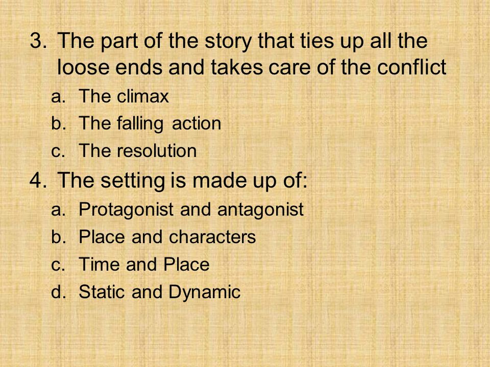 The setting is made up of: