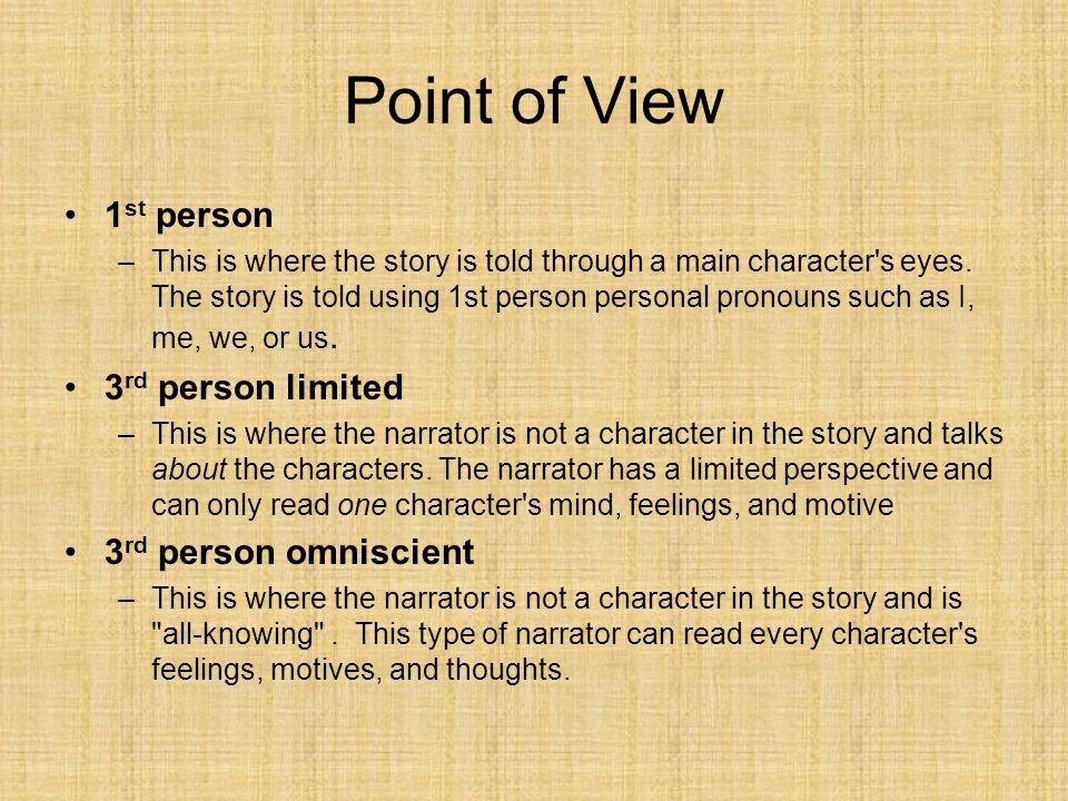 Point of View 1st person 3rd person limited 3rd person omniscient