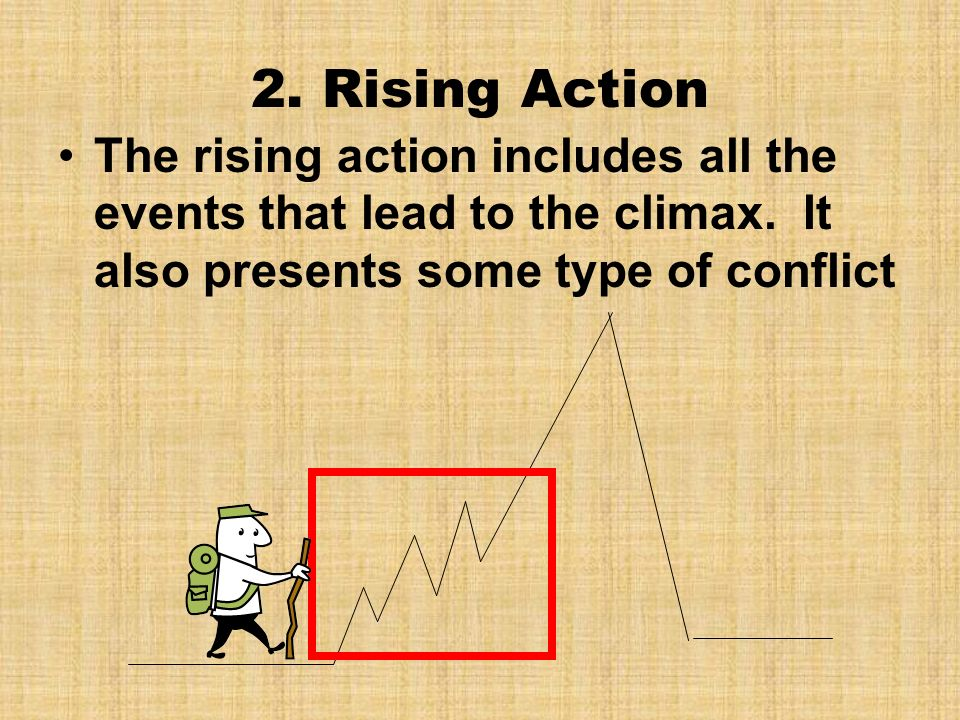2. Rising Action The rising action includes all the events that lead to the climax.