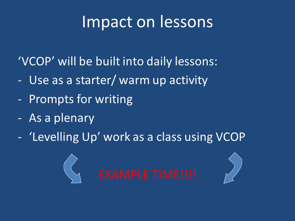 Impact on lessons 'VCOP' will be built into daily lessons: