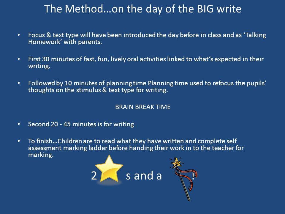 The Method…on the day of the BIG write