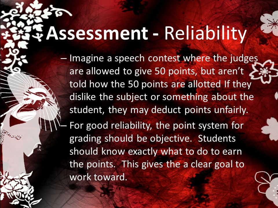 Assessment - Reliability