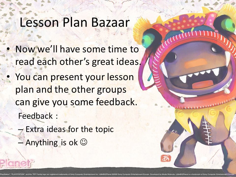 Lesson Plan Bazaar Now we'll have some time to read each other's great ideas.