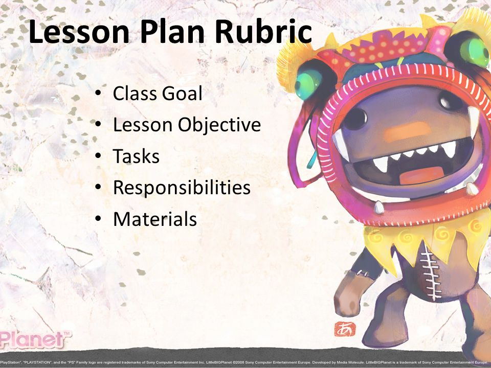 Lesson Plan Rubric Class Goal Lesson Objective Tasks Responsibilities