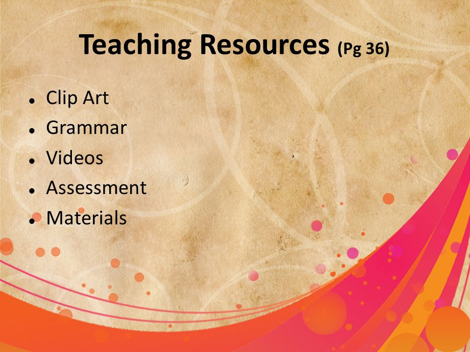 Teaching Resources (Pg 36)