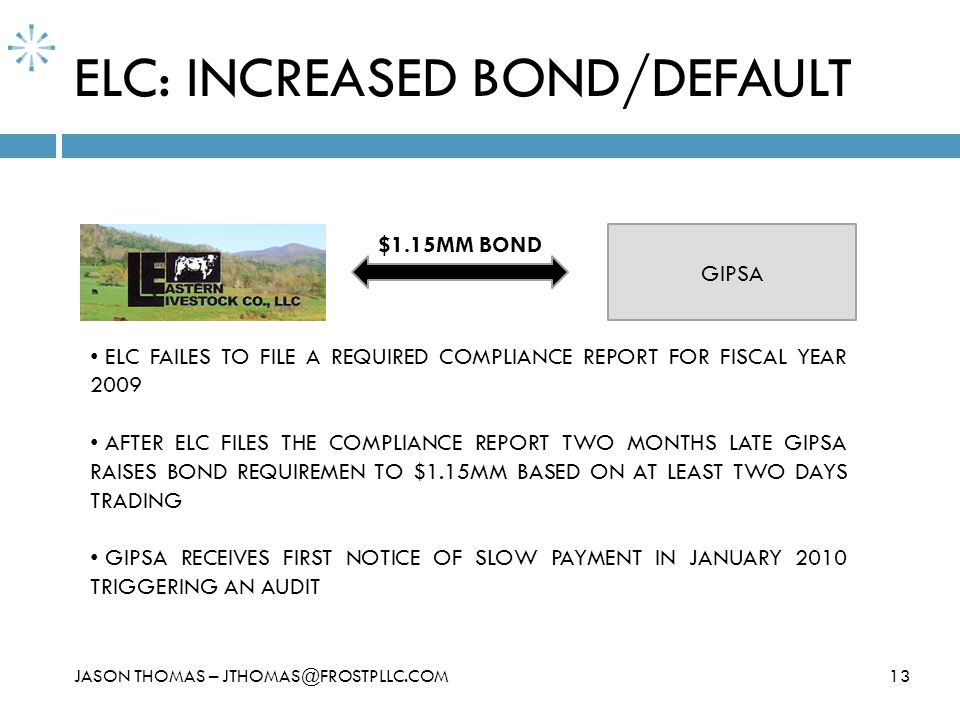 ELC: INCREASED BOND/DEFAULT