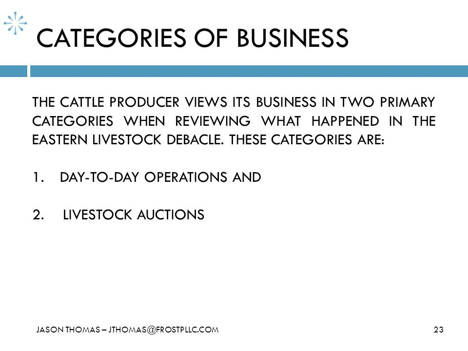CATEGORIES OF BUSINESS