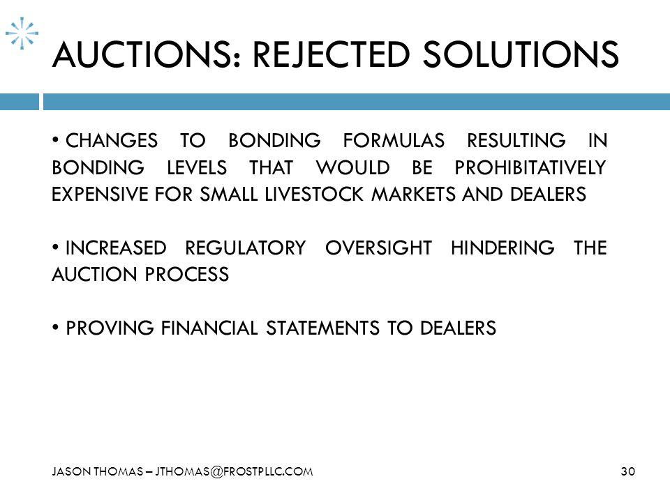 AUCTIONS: REJECTED SOLUTIONS