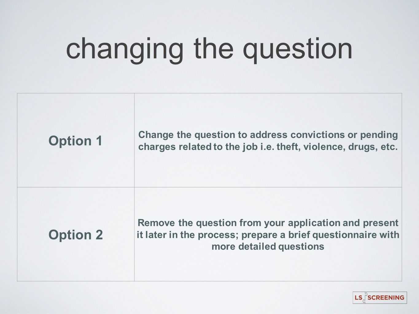 changing the question Option 1 Option 2
