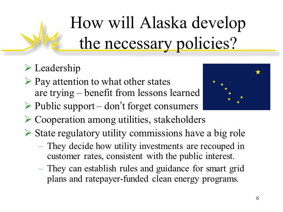 How will Alaska develop the necessary policies