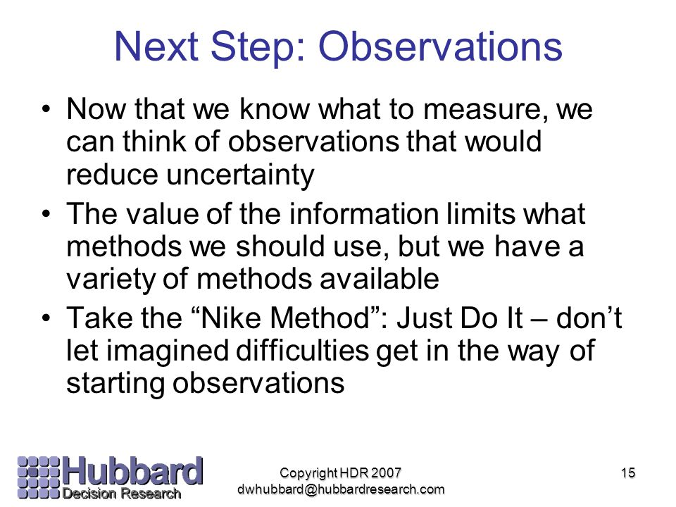 Next Step: Observations