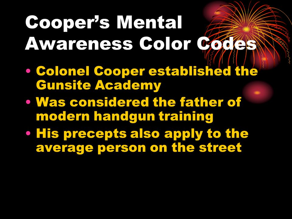 Cooper's Mental Awareness Color Codes