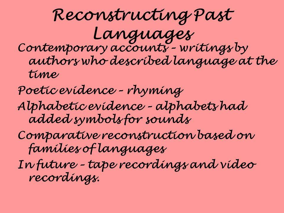 Reconstructing Past Languages