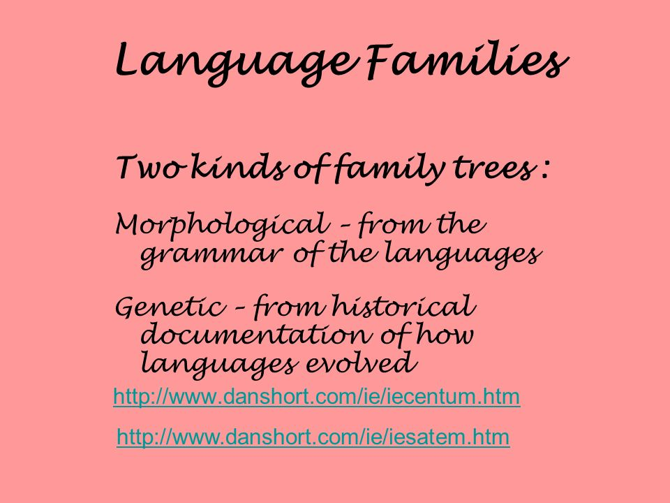 Language Families Two kinds of family trees :
