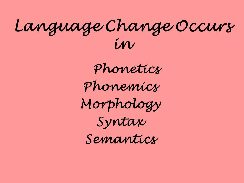 Language Change Occurs in