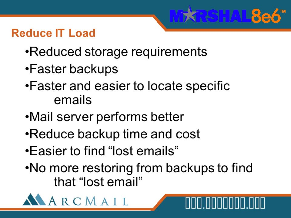 Reduced storage requirements Faster backups