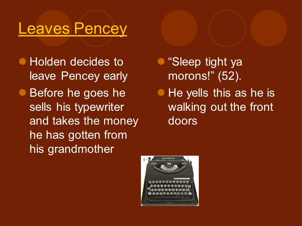 Leaves Pencey Holden decides to leave Pencey early