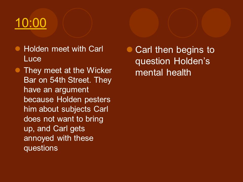 10:00 Carl then begins to question Holden's mental health