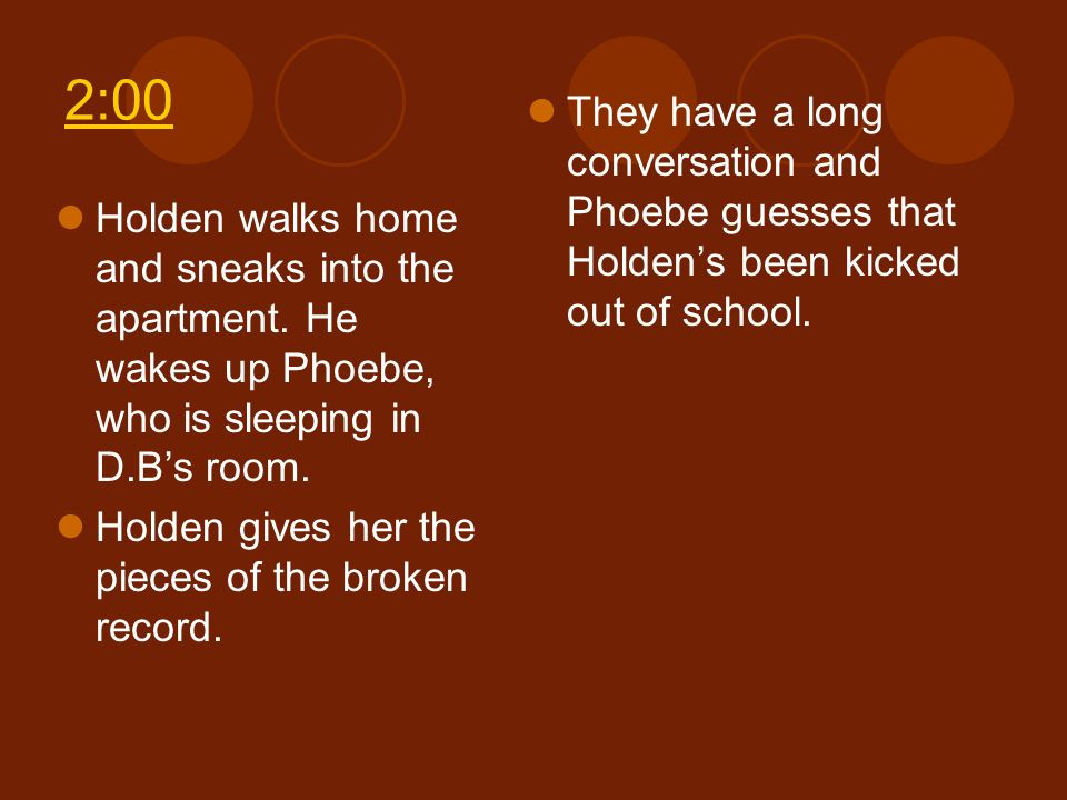 2:00 They have a long conversation and Phoebe guesses that Holden's been kicked out of school.