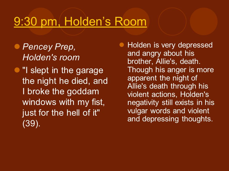 9:30 pm, Holden's Room Pencey Prep, Holden s room