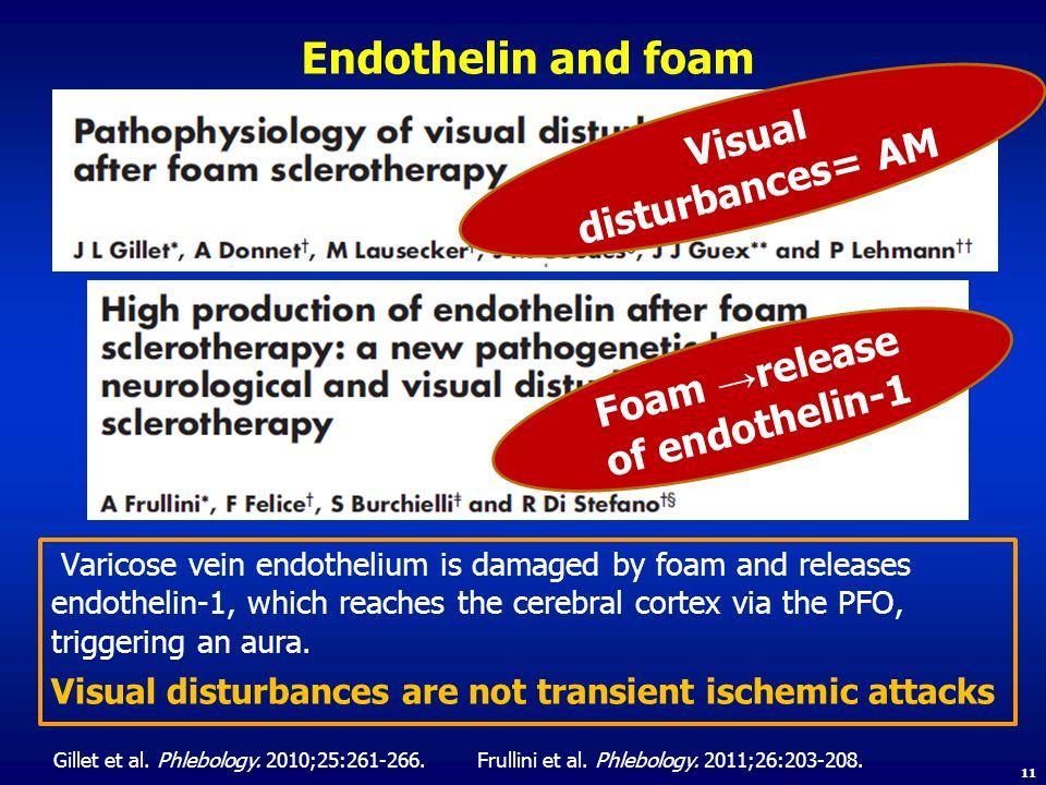 Visual disturbances= AM Foam →release of endothelin-1